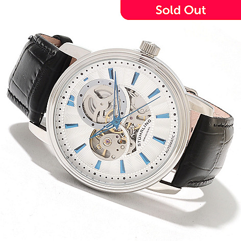 621-777 - Stührling Original Men's Delphi Acheron Automatic Skeletonized Leather Strap Watch