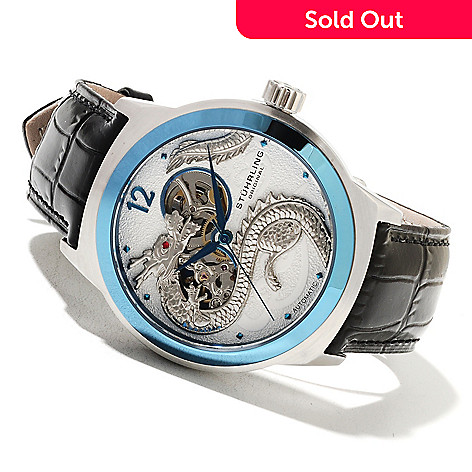 621-778 - Stührling Original Men's Dragon Automatic Leather Strap Watch