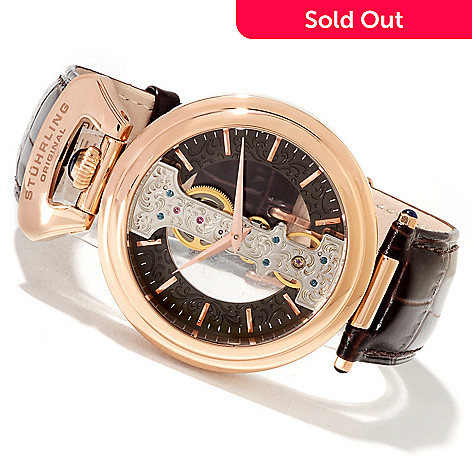 621-779 - Stührling Original Men's Emperor Spire Mechanical Skeletonized Leather Strap Watch