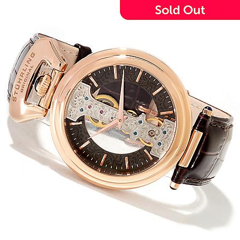 621-779 - Stührling Original Men's Emperor Spire Mechanical Skeletonized Leather Strap Watch
