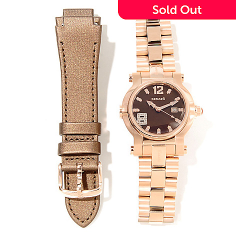 621-785 - Renato Women's Beauty Quartz Stainless Steel Bracelet Watch w/ Extra Strap