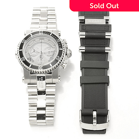 621-788 - Renato Men's Beast Diver Swiss Quartz Chronograph Bracelet Watch w/ Extra Strap