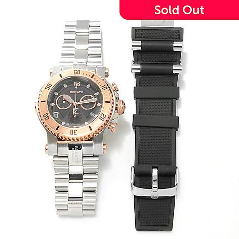 621-790 - Renato Men's Beast Diver Swiss Quartz Chronograph Bracelet Watch w/ Extra Strap
