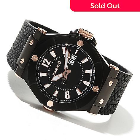 621-795 - Renato Men's Wilde-Beast Swiss Quartz Stainless Steel Rubber Strap Watch