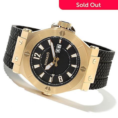 621-796 - Renato Men's Wilde-Beast Swiss Quartz Stainless Steel Rubber Strap Watch