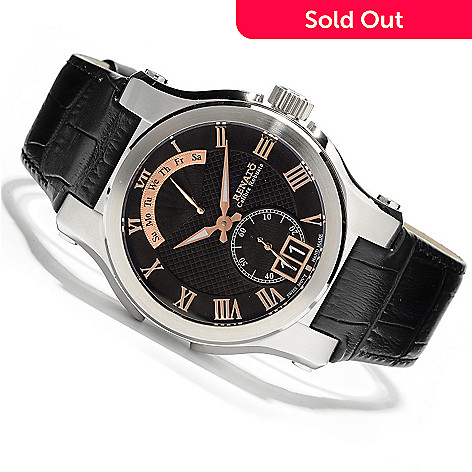 621-802 - Renato Men's Calibre Robusta Classic Quartz Leather Strap Watch
