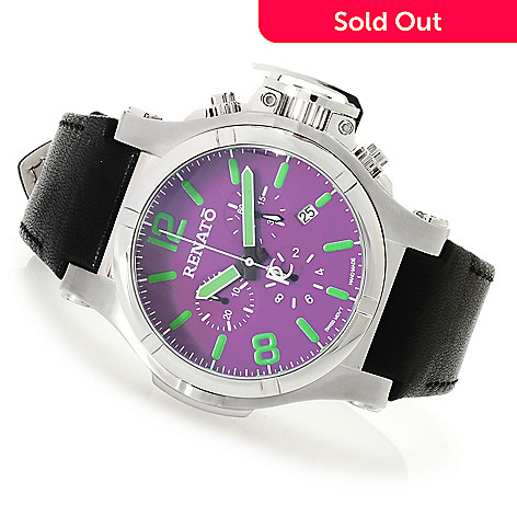 621-804 - Renato Men's T-Rex Gen II Aviator Swiss Quartz Chronograph Leather Strap Watch