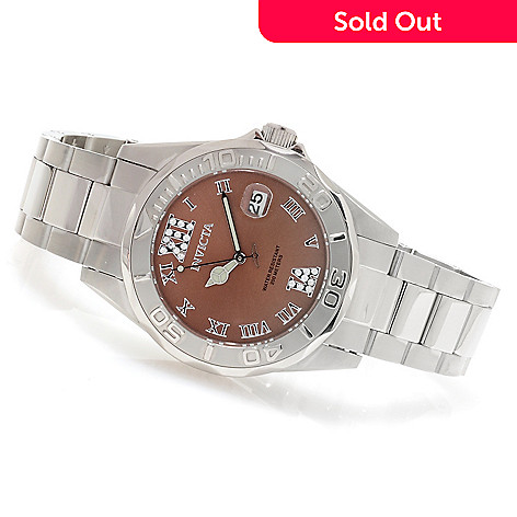 621-809 - Invicta Women's Pro Diver Quartz Crystal Accented Stainless Steel Bracelet Watch