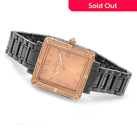 621-828 - Invicta Women's Classique Quartz Square Case Ceramic Bracelet Watch
