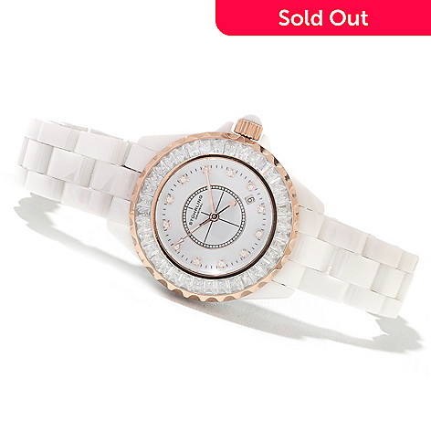 622-037 - Stuhrling Original Women's Quartz Glamour III Ceramic Bracelet Watch Made w/ Swarovski® Elements