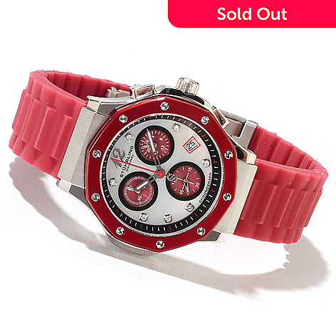 622-038 - Stührling Original Women's Cosmo Girl Quartz Rubber Strap Watch Made w/ Swarovski® Elements