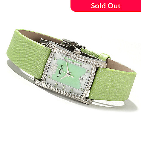622-063 - Stührling Original Women's Gatsby Girl Leather Strap Watch Made w/ Swarovski® Elements