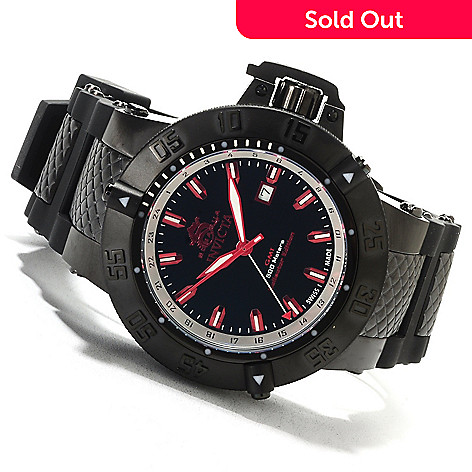 622-077 - Invicta 50mm Subaqua Noma III Swiss Made Quartz GMT Polyurethane Strap Watch