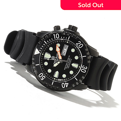 622-081 - Deep Blue Men's Protac Diver 1000 Quartz Stainless Steel Rubber Strap Watch