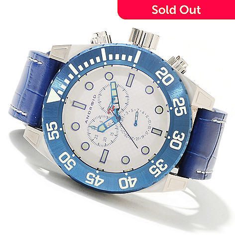 622-085 - Android Men's Silverjet Quartz Chronograph Leather Strap Watch