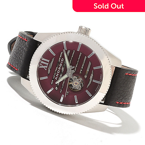 622-087 - Android Men's Venona Automatic Skeletonized Leather Strap Watch