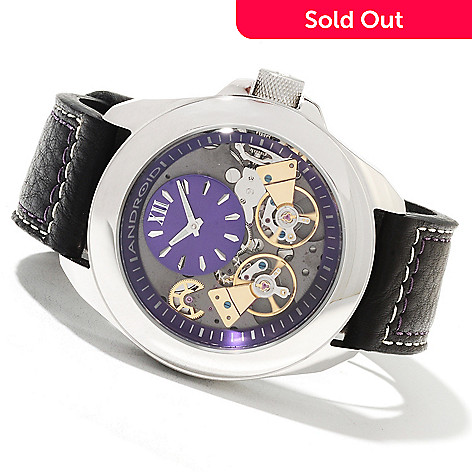 622-089 - Android Men's Mondrian Double Escapement Automatic Leather Strap Watch