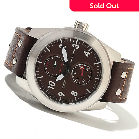 622-092 - Android Men's Skyguardian Automatic Power Reserve Leather Strap Watch