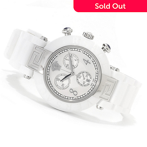 622-145 - Versace Women's Reve Swiss Made Quartz Chronograph Ceramic Rubber Strap Watch