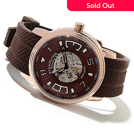 622-146 - Stührling Original Men's Delphi Archer Automatic Skeletonized Rubber Strap Watch