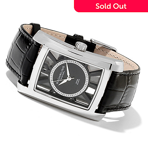 622-147 - Stührling Original Men's Gatsby Quartz Stainless Steel Leather Strap Watch