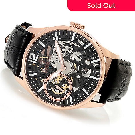 622-153 - Invicta Men's Vintage Skeleton Mechanical Stainless Steel Leather Strap Watch