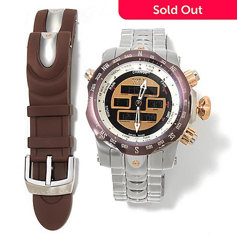 622-169 - Invicta Reserve 52mm Venom Swiss Made Ana/Digi Bracelet Watch w/ Extra Polyurethane Strap & Tool