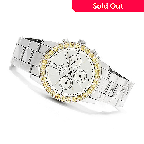 622-184 - Invicta Women's Angel Gemstone Limited Edition Quartz Multifunction Stainless Steel Bracelet Watch