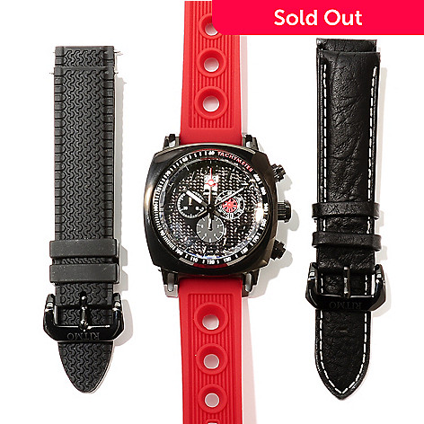 622-192 - Ritmo Mundo Men's Indycar Swiss Made Quartz Chronograph Watch w/ Two Additional Straps