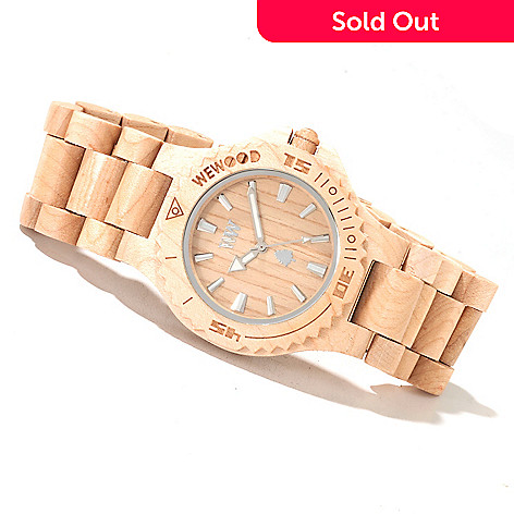 622-199 - WeWOOD 42mm ''Date'' Quartz Wooden Bracelet Watch