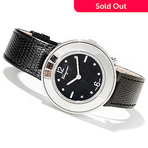 622-211 - Ferragamo Women's Gancino Sparkling Swiss Made Quartz Leather Strap Watch