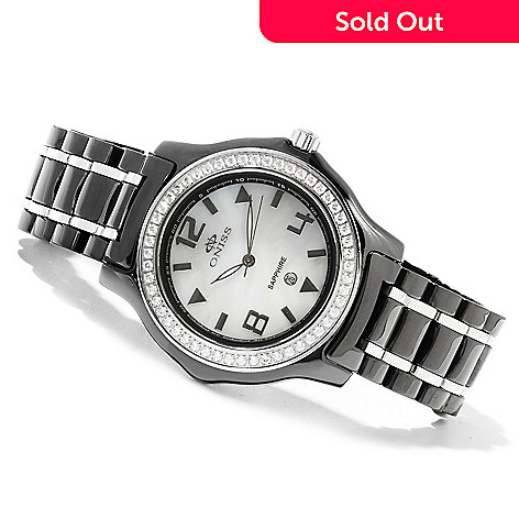 622-230 - Oniss Women's Ice Quartz Crystal Accented Mother-of-Pearl Stainless Steel Bracelet Watch