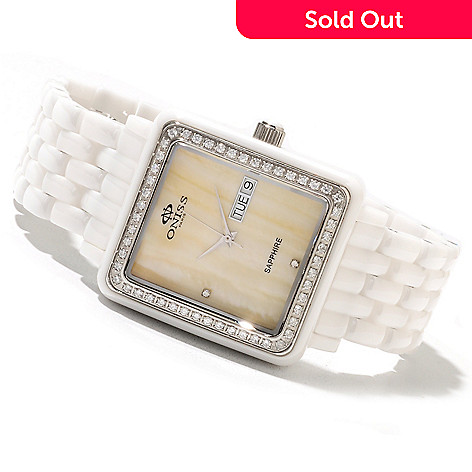 622-232 - Oniss Women's Finesse Quartz Crystal Accented Mother-of-Pearl Ceramic Bracelet Watch