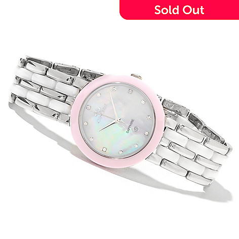 622-235 - Oniss Women's Daisy Quartz Stainless Steel & Ceramic Bracelet Watch