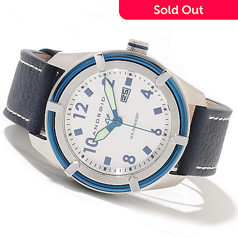 622-260 - Android Men's Naval 2353 Quartz Leather Strap Watch w/ Three-Slot Case