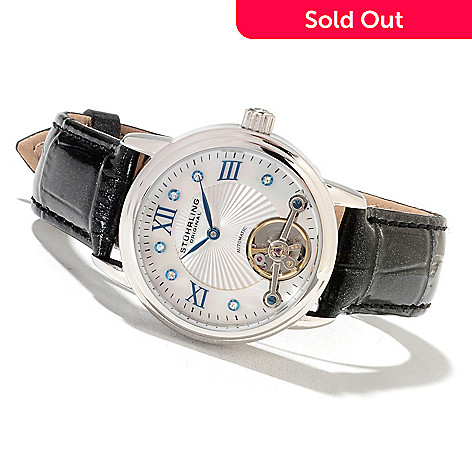 622-262 - Stührling Original Women's Automatic Leather Strap Watch Made w/ Swarovski;® Elements