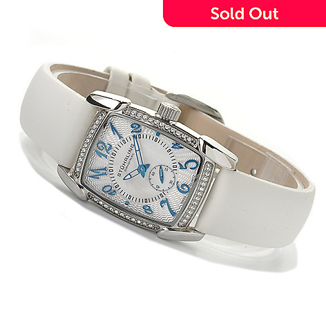 622-263 - Stührling Original Women's Quartz Leather Strap Watch Made w/ Swarovski® Elements