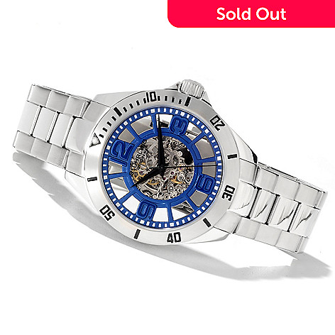 622-266 - Stührling Original Men's Classic Neo Winchester Automatic Skeletonized Stainless Steel Bracelet