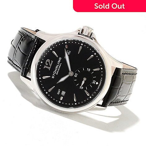 622-268 - Stührling Original Men's Eternity Automatic GMT Leather Strap Watch