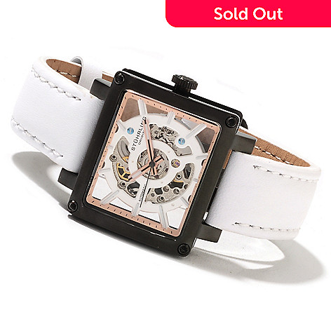622-272 - Stührling Original Women's Axis Girl Automatic Skeletonized Leather Strap Watch