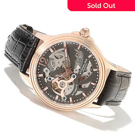 622-274 - Stührling Original Men's Automatic Skeletonized Stainless Steel Leather Strap Watch