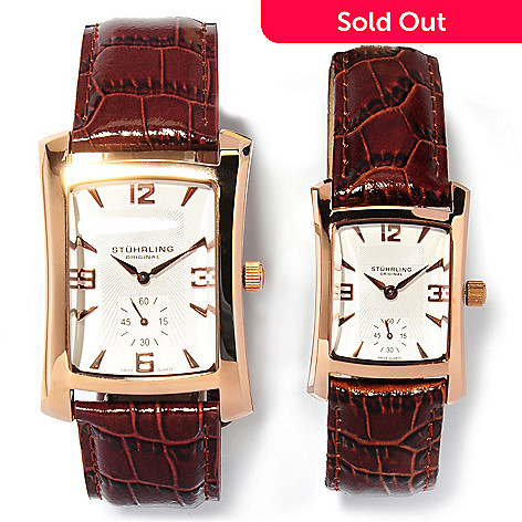 622-286 - Stührling Original Men's & Women's Gatsby Quartz Leather Strap Watch Set