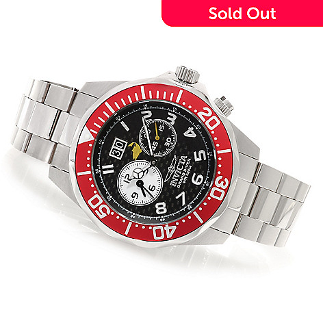 622-320 - Invicta 46.5mm Grand Diver Swiss Quartz Dual Time Carbon Fiber Dial Bracelet Watch