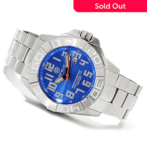 622-327 - Deep Blue Men's 50mm Bluetech Abyss II T-100 Swiss Automatic Stainless Steel Bracelet Watch