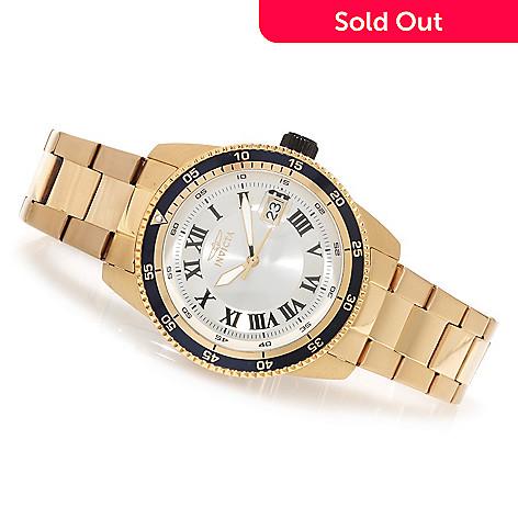 622-341 - Invicta 45mm Pro Diver 18K Gold Plated Bracelet Watch w/ Three-Slot Dive Case