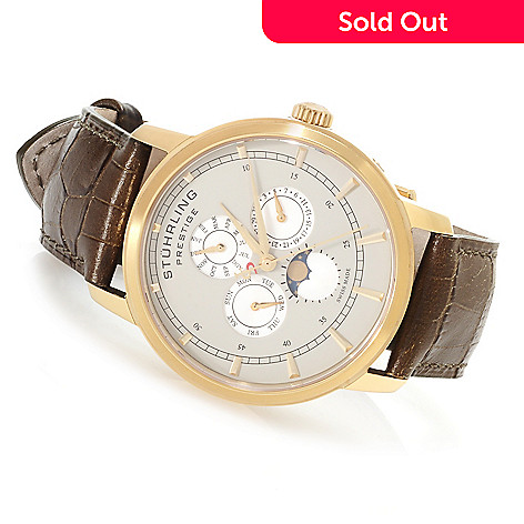 622-372 - Stührling Prestige Men's Maestro Swiss Made Quartz Multi-Function Leather Strap Watch