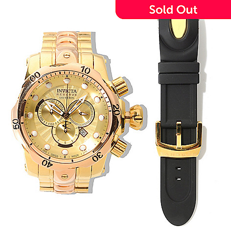 622-381 - Invicta Reserve Men's 52mm Venom Swiss Chronograph High Polish Watch w/ Three-Slot Dive Case & Strap