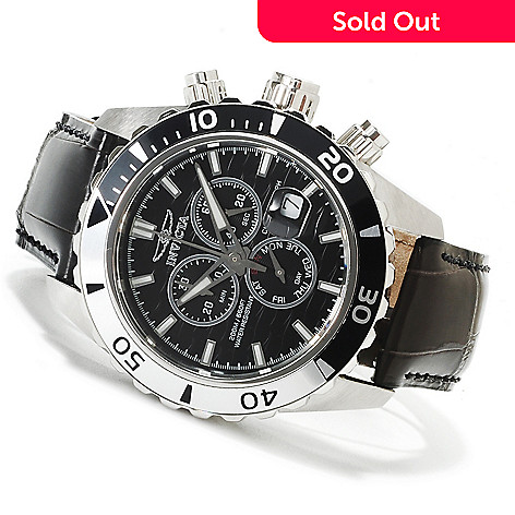 622-395 - Invicta Mid-Size Pro Diver Specialty Quartz Chronograph Alligator Strap Watch