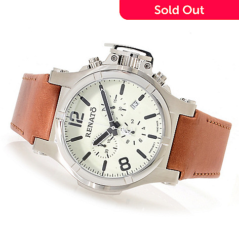 622-447 -  Renato Men's T-Rex Gen II Aviator Swiss Quartz Chronograph Genuine Leather Strap Watch