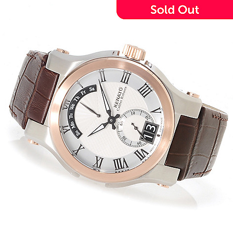 622-449 - Renato Men's Calibre Robusta Classic Swiss Quartz Leather Strap Watch